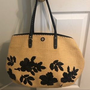 Tory Burch Straw Floral Tote